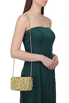 Gold Embroidered Rosette Flapover Clutch by Lovetobag