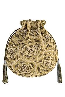 Gold Embroidered Rosette Potli Bag by Lovetobag
