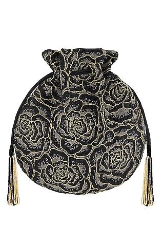 Black Embroidered Rosette Potli Bag by Lovetobag