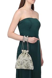 Silver Embroidered Floret Potli Bag by Lovetobag