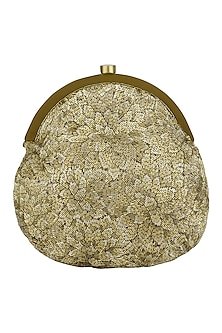 Gold Embroidered Floret Pouch by Lovetobag