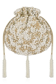 Champange Pearl Embroidered Potli Bag by Lovetobag