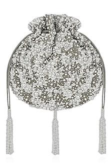 Dove Grey Pearl Embroidered Potli Bag by Lovetobag