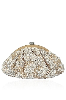 Champange Pearl Embroidered Clutch by Lovetobag