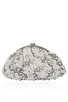 Dove Grey Pearl Embroidered Clutch by Lovetobag