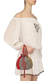 Crimson Red and Gold Japanese Beads Potli Bag by Lovetobag