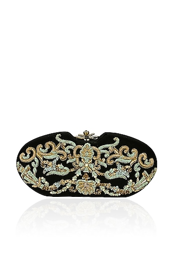Black and gold zardozi and pearls embroidered vintage box clutch by Lovetobag