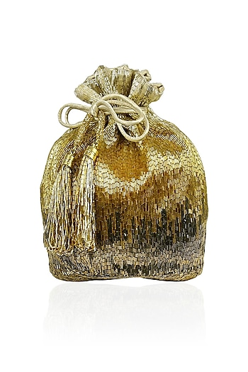 Gold glass beads embroidered pouch bag by Lovetobag