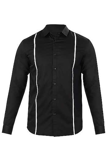 Black Striped Shirt by LACQUER Embassy