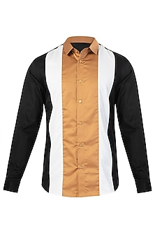 Black Color Blocked Shirt by LACQUER Embassy