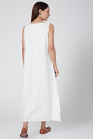 Ivory embroidered dress with lining by Linen Bloom
