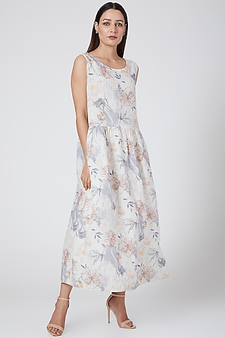 Blue floral print dress by Linen Bloom