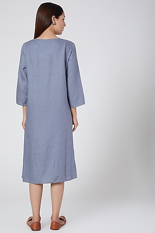 Blue embroidered dress by Linen Bloom