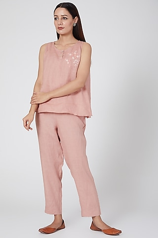 Pink Elasticated Pants by Linen Bloom
