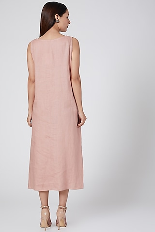 Pink Embroidered Dress by Linen Bloom