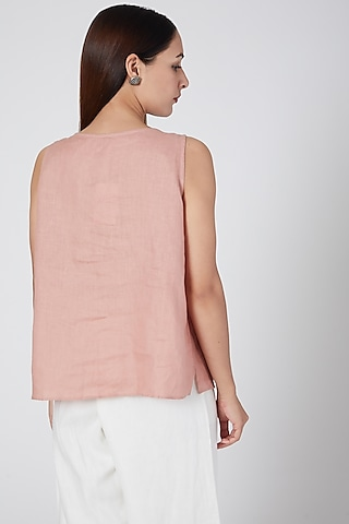 Pink Embroidered Top by Linen Bloom