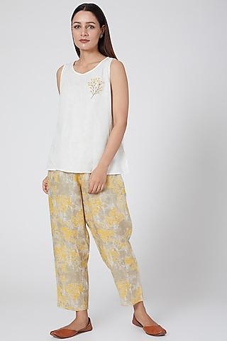Ochre Digital Printed Pants by Linen Bloom