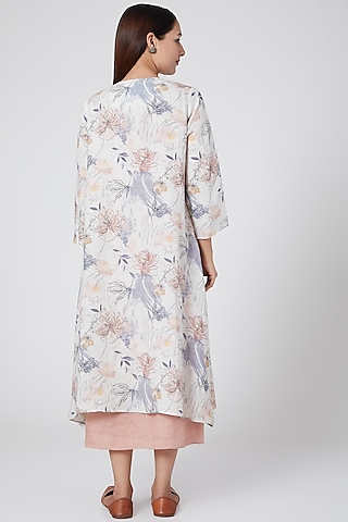 Blue Floral Printed Cape by Linen Bloom