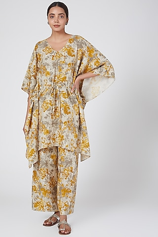 Hazel Printed Kaftan Dress by Linen Bloom