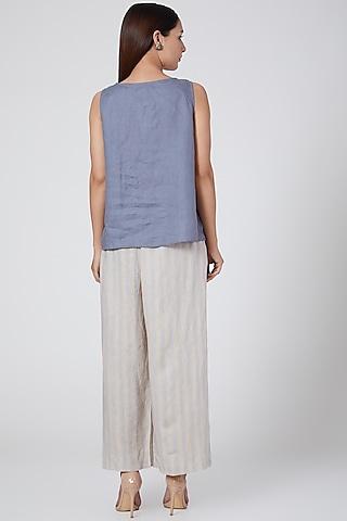 Blue Striped Pants by Linen Bloom