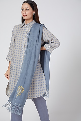 Blue Embroidered Scarf by Linen Bloom