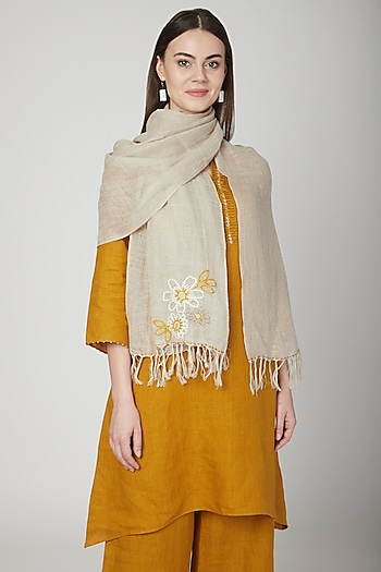 Beige Floral Embroidered Scarf by Linen Bloom