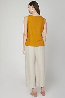 Beige Elasticated Flared Pants by Linen Bloom