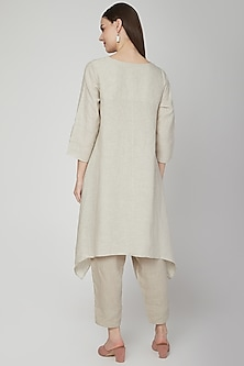 Beige Floral Embroidered Tunic by Linen Bloom