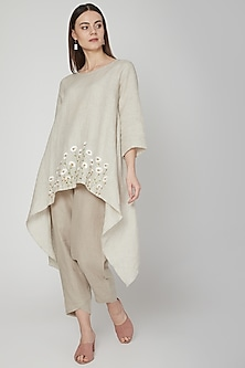 Beige Pants With Crossover Cuffs by Linen Bloom