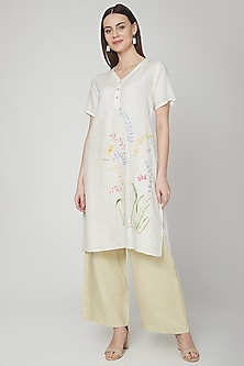 Ivory Floral Embroidered Tunic by Linen Bloom