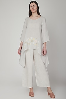 Silver Grey Floral Tunic by Linen Bloom