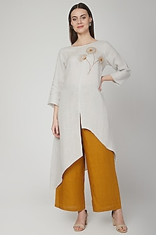 Silver Grey Floral Embroidered Tunic by Linen Bloom