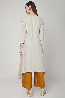 Beige Embroidered Long Tunic by Linen Bloom