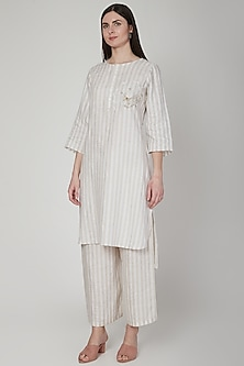 Beige Striped Embroidered Tunic by Linen Bloom