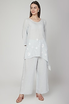 Sky Blue Asymmetric Embroidered Tunic by Linen Bloom