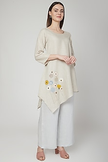 Beige Floral Embroidered Asymmetric Tunic by Linen Bloom
