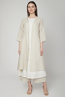 Beige Cape With Front Opening by Linen Bloom