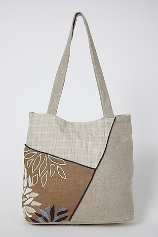 Beige Embroidered Handbag by Linen Bloom