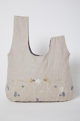 Beige Japanese Knotted Handbag by Linen Bloom