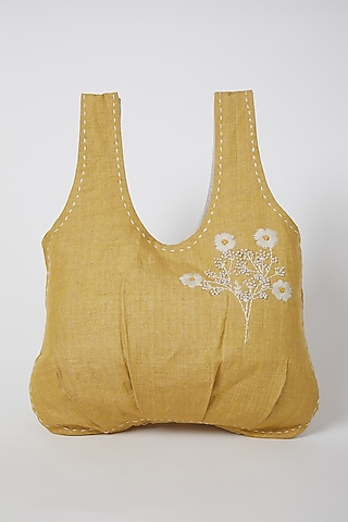 Mustard Embroidered & Pleated Handbag by Linen Bloom