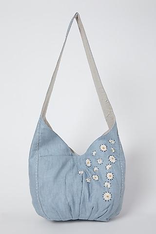 Sky Blue Hand Embroidered Handbag by Linen Bloom