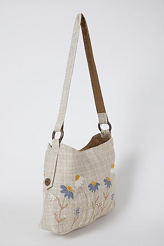 Beige Checkered & Embroidered Handbag by Linen Bloom