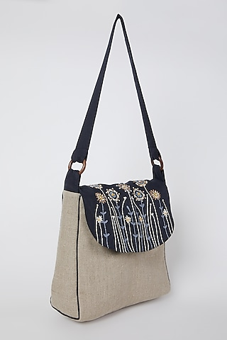 Beige Embroidered Handbag With Contrast Flap by Linen Bloom