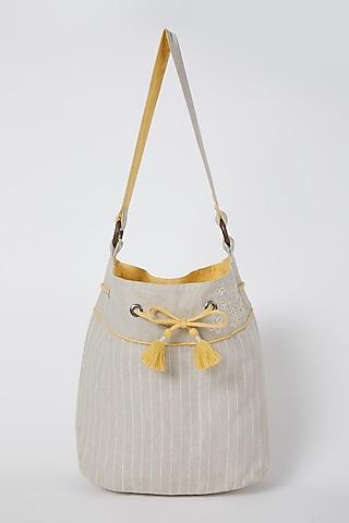 Beige Bucket Handbag by Linen Bloom
