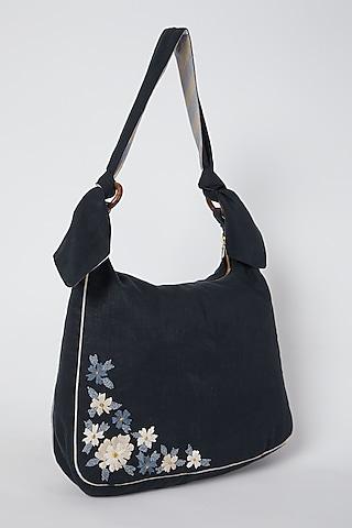 Cobalt Blue Floral Embroidered Handbag by Linen Bloom