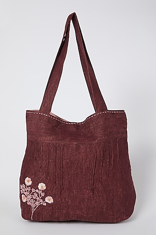 Maroon Floral Embroidered Handbag by Linen Bloom
