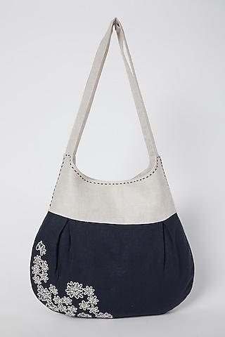Beige Floral Embroidered Handbag by Linen Bloom