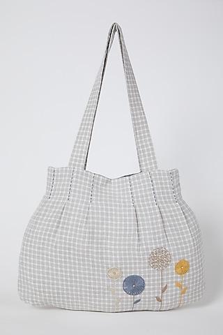 Beige Embroidered Checkered Handbag by Linen Bloom