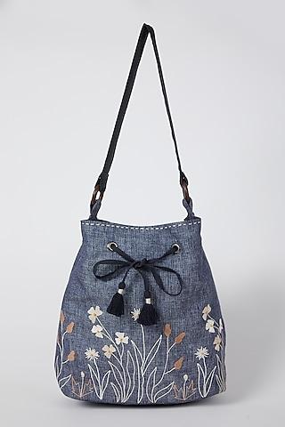 Cobalt Blue Floral Embroidered Sling Bag by Linen Bloom