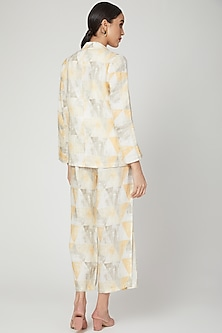 Yellow Digital Printed Blazer by Linen Bloom